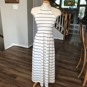 Off white with black stripes maxi dress